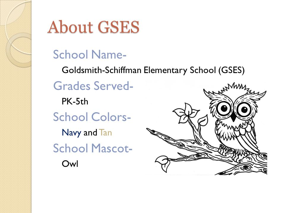 About GSES School Name- Goldsmith-Schiffman Elementary School (GSES) Grades Served- PK-5th School Colors- Navy and Tan School Mascot- Owl