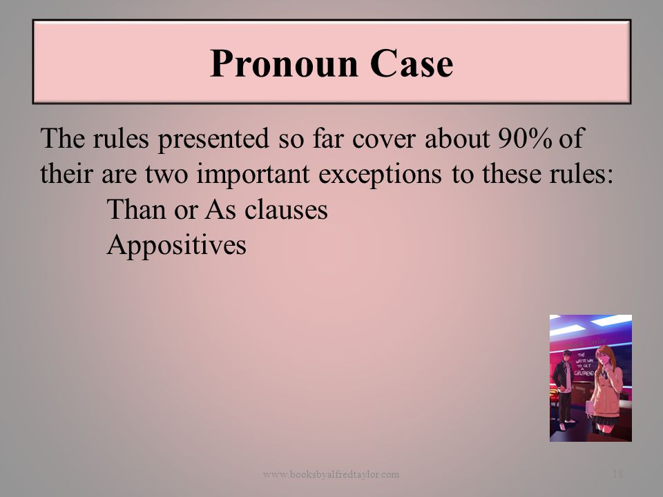 Pronoun Case The rules presented so far cover about 90% of their are two important exceptions to these rules: Than or As clauses Appositives www.booksbyalfredtaylor.com18