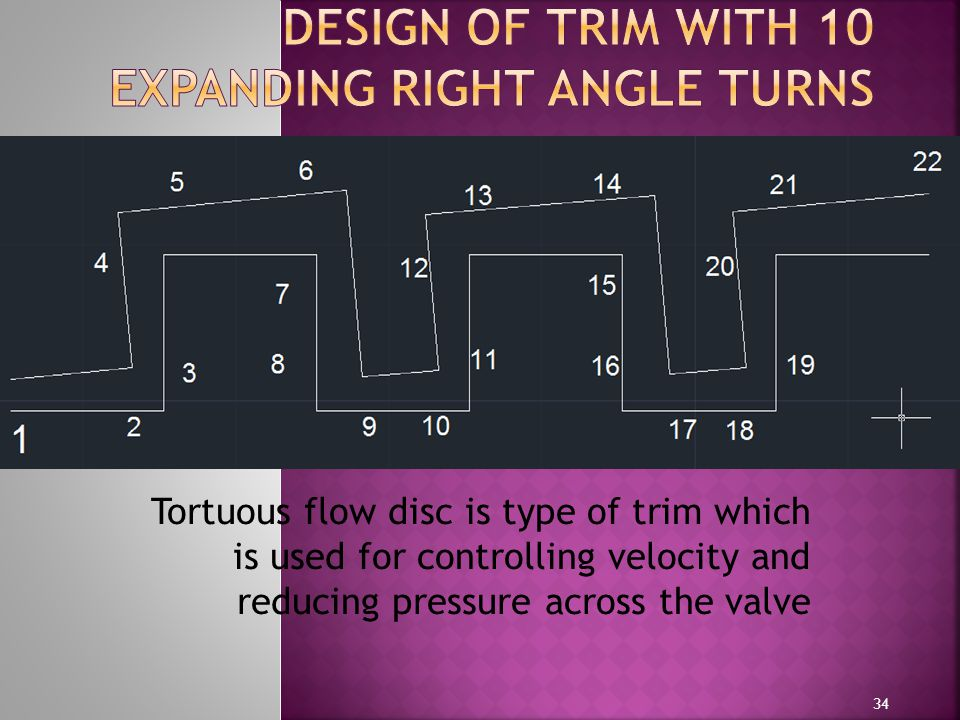 Tortuous flow disc is type of trim which is used for controlling velocity and reducing pressure across the valve 34