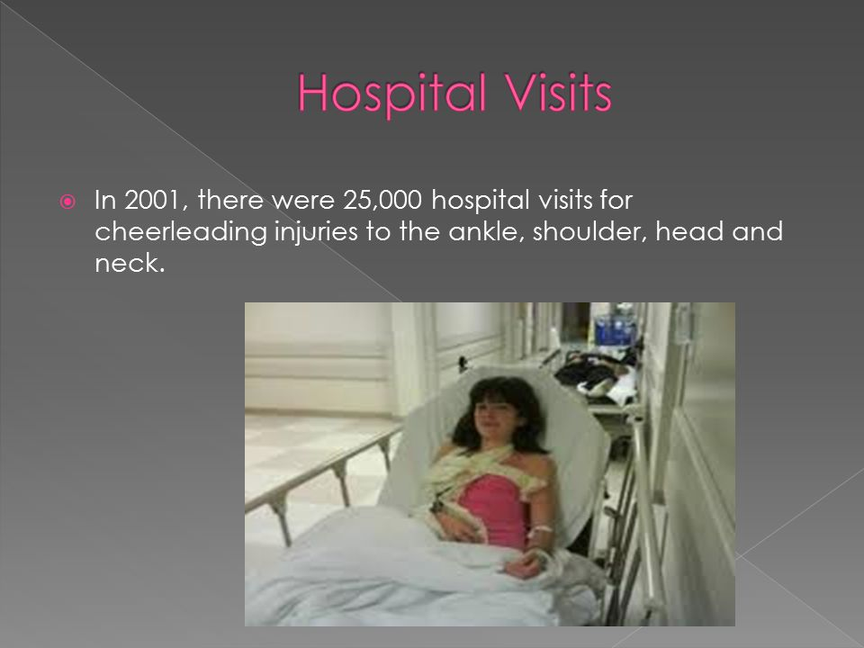  In 2001, there were 25,000 hospital visits for cheerleading injuries to the ankle, shoulder, head and neck.