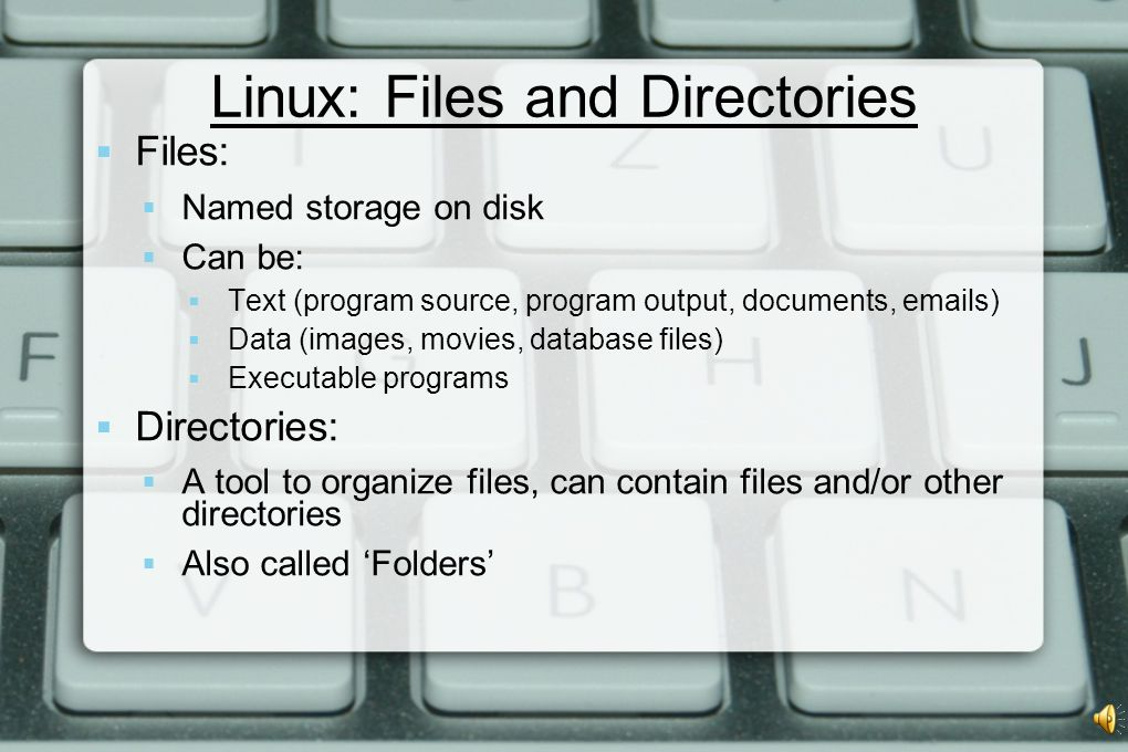 Linux: Files and Directories  Files:  Named storage on disk  Can be:  Text (program source, program output, documents, emails)  Data (images, movies, database files)  Executable programs  Directories:  A tool to organize files, can contain files and/or other directories  Also called 'Folders'