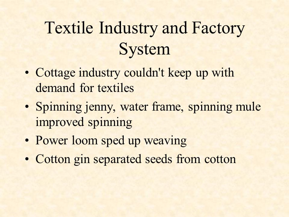 Textile Industry and Factory System
