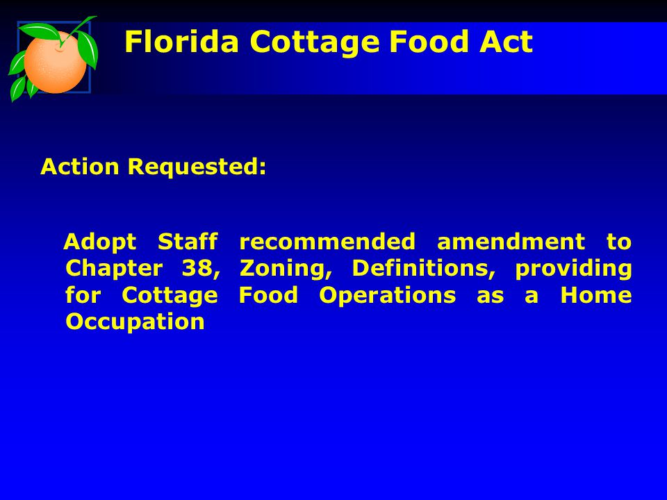 Florida Cottage Food Act Action Requested: Adopt Staff recommended amendment to Chapter 38, Zoning, Definitions, providing for Cottage Food Operations as a Home Occupation