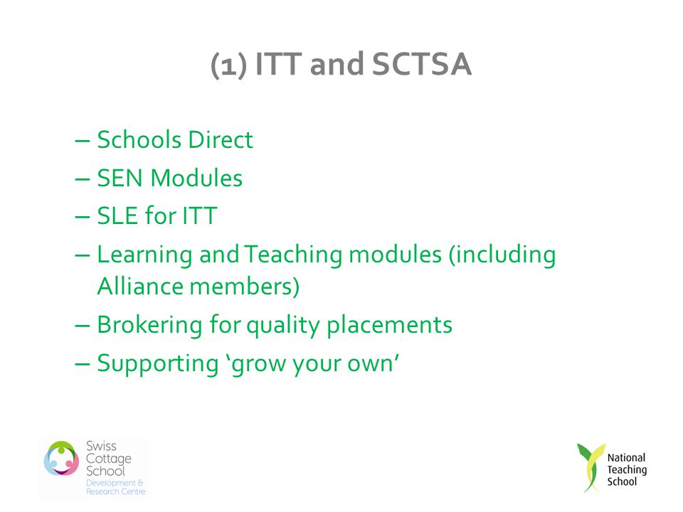 (1) ITT and SCTSA – Schools Direct – SEN Modules – SLE for ITT – Learning and Teaching modules (including Alliance members) – Brokering for quality placements – Supporting 'grow your own'
