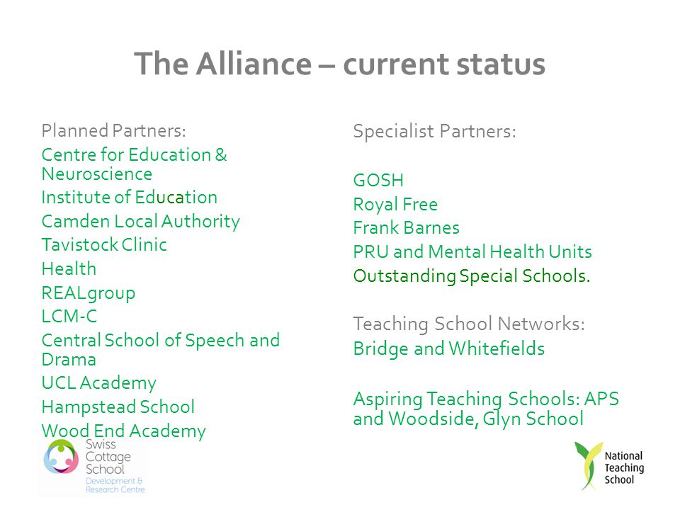The Alliance – current status Planned Partners: Centre for Education & Neuroscience Institute of Education Camden Local Authority Tavistock Clinic Health REALgroup LCM-C Central School of Speech and Drama UCL Academy Hampstead School Wood End Academy Specialist Partners: GOSH Royal Free Frank Barnes PRU and Mental Health Units Outstanding Special Schools.