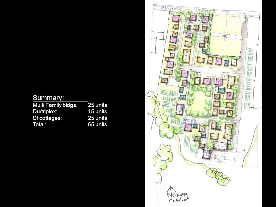 Summary: Multi Family bldgs.25 units Du/triplex:15 units Sf cottages:25 units Total: 65 units