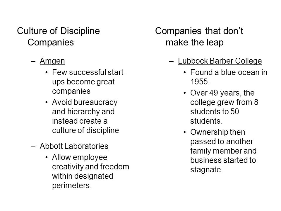 Culture of Discipline Companies –Amgen Few successful start- ups become great companies Avoid bureaucracy and hierarchy and instead create a culture of discipline –Abbott Laboratories Allow employee creativity and freedom within designated perimeters.
