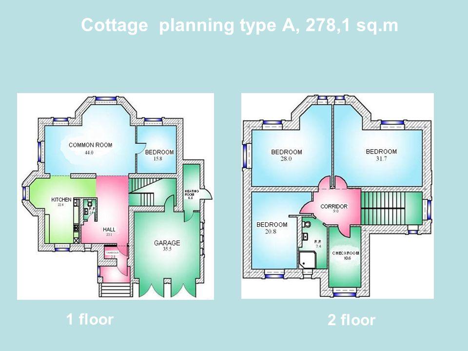 Cottage planning type А, 278,1 sq.m 1 floor 2 floor