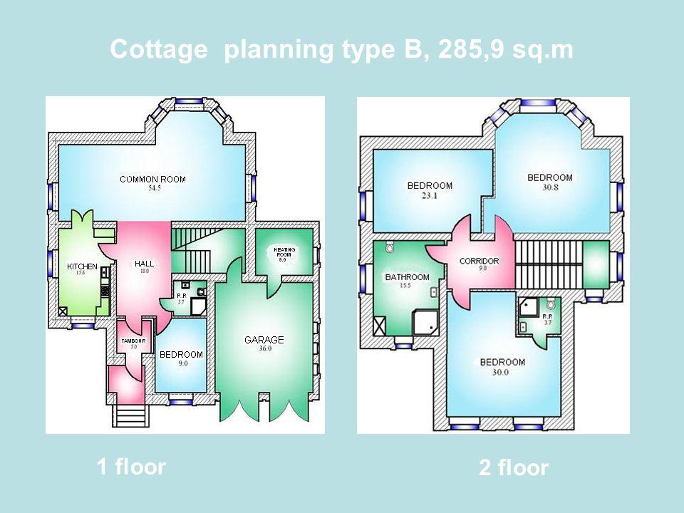 Cottage planning type B, 285,9 sq.m 1 floor 2 floor