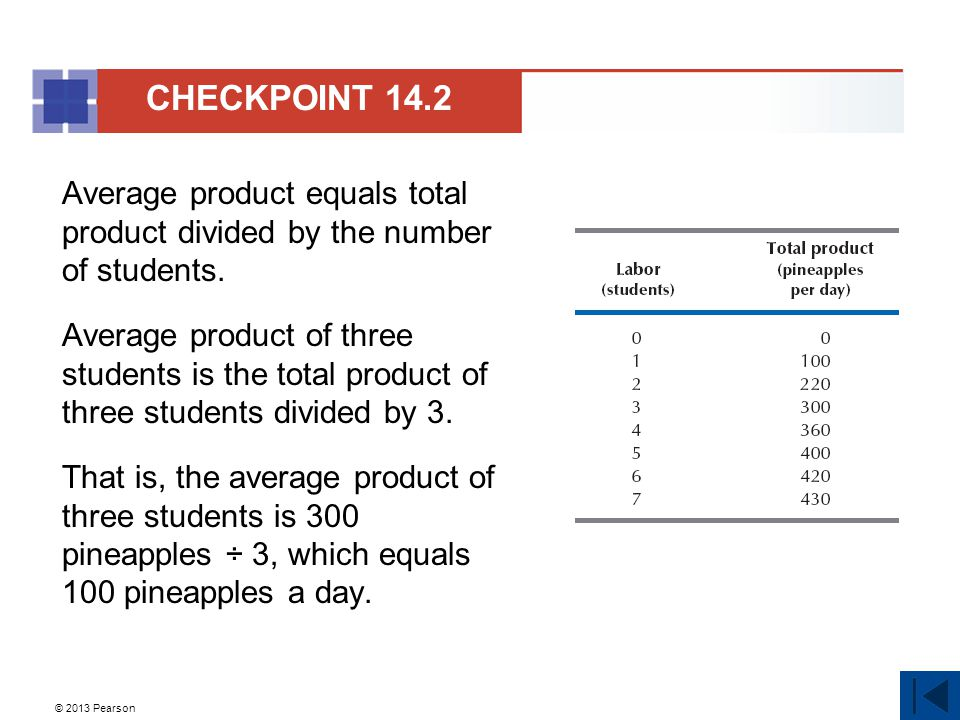 © 2013 Pearson Average product equals total product divided by the number of students. Average product of three students is the total product of three