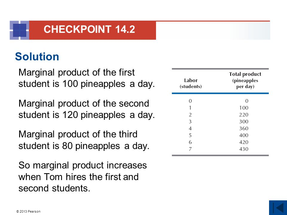 © 2013 Pearson Solution Marginal product of the first student is 100 pineapples a day. Marginal product of the second student is 120 pineapples a day.
