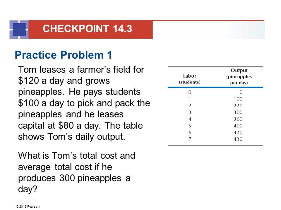 © 2013 Pearson Practice Problem 1 Tom leases a farmer's field for $120 a day and grows pineapples. He pays students $100 a day to pick and pack the pi
