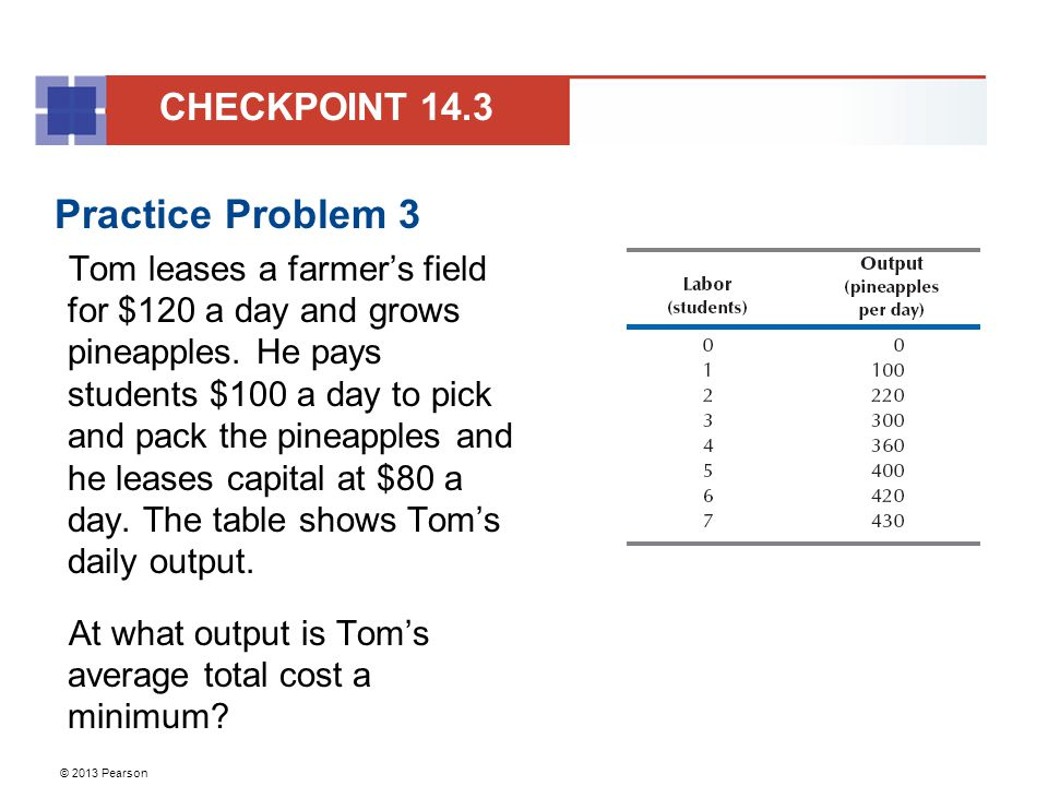 © 2013 Pearson Practice Problem 3 Tom leases a farmer's field for $120 a day and grows pineapples. He pays students $100 a day to pick and pack the pi