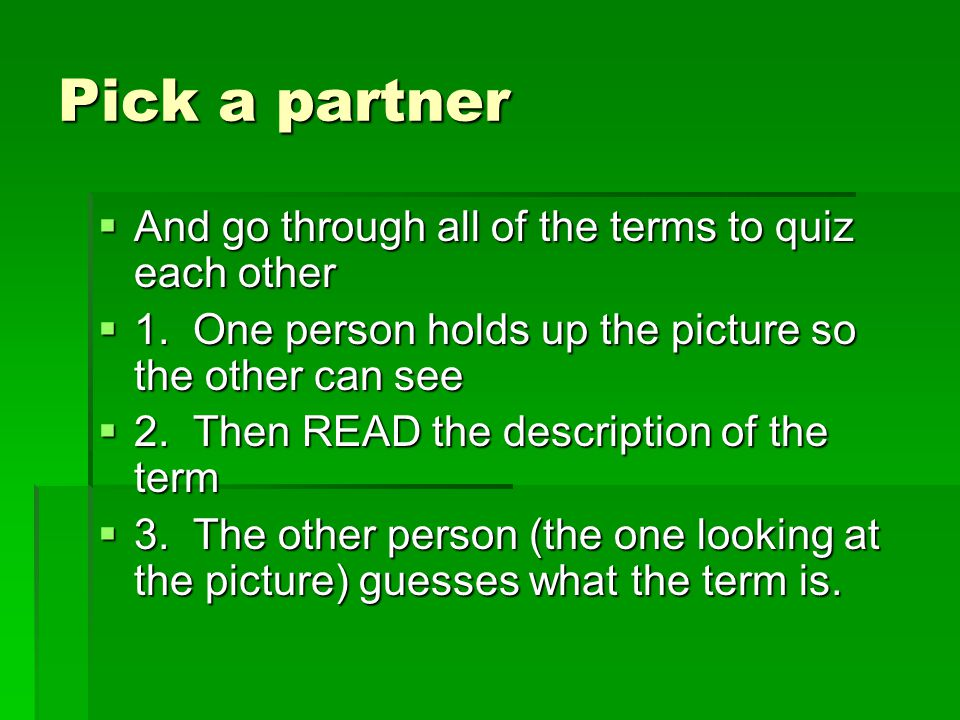 Pick a partner  And go through all of the terms to quiz each other  1.