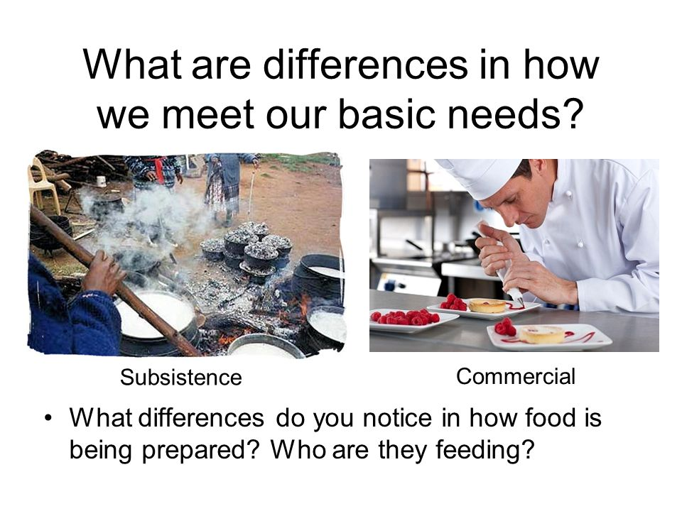 What are differences in how we meet our basic needs? What differences do you notice in how food is being prepared? Who are they feeding? Subsistence C