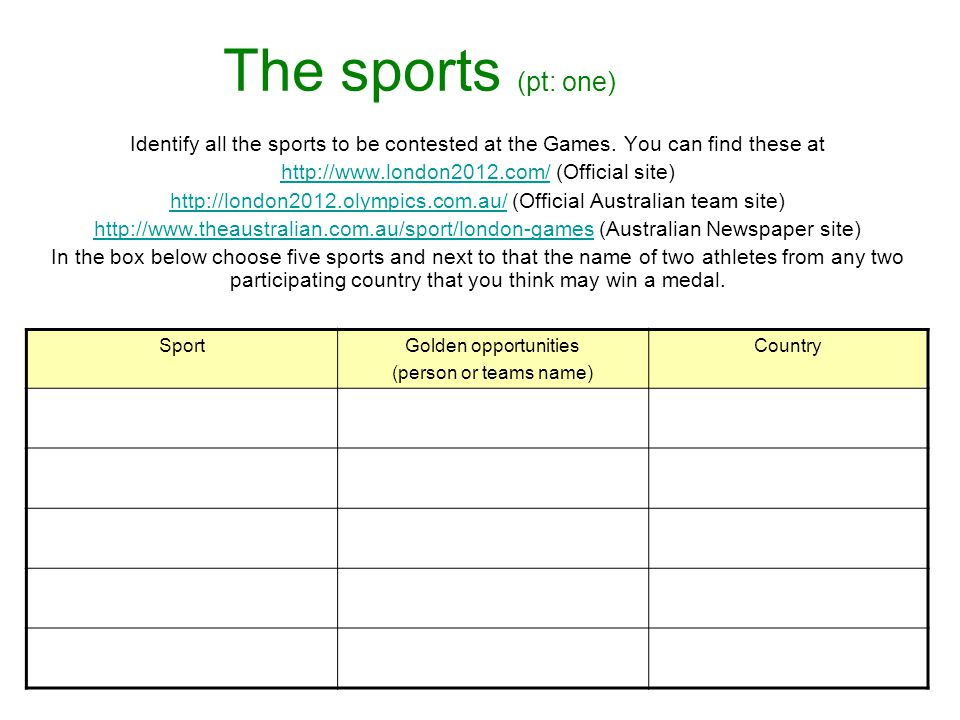 The sports (pt: one) Identify all the sports to be contested at the Games.