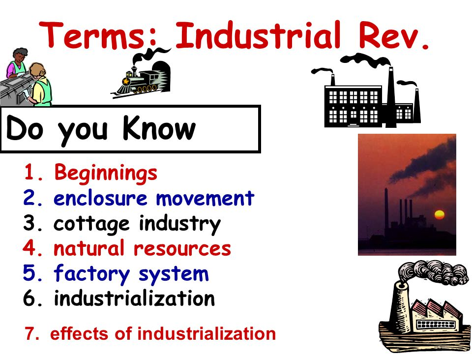 Terms: Industrial Rev. Do you Know 1. Beginnings Video: Life before the Industrial Revolution