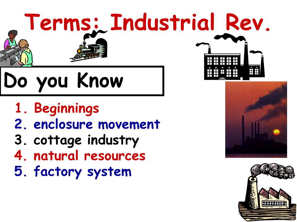 Terms: Industrial Rev. Do you Know 1. Beginnings 2.