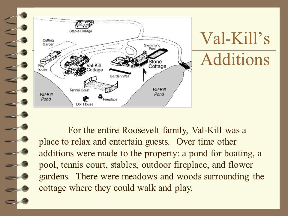 Val-Kill's Additions For the entire Roosevelt family, Val-Kill was a place to relax and entertain guests.