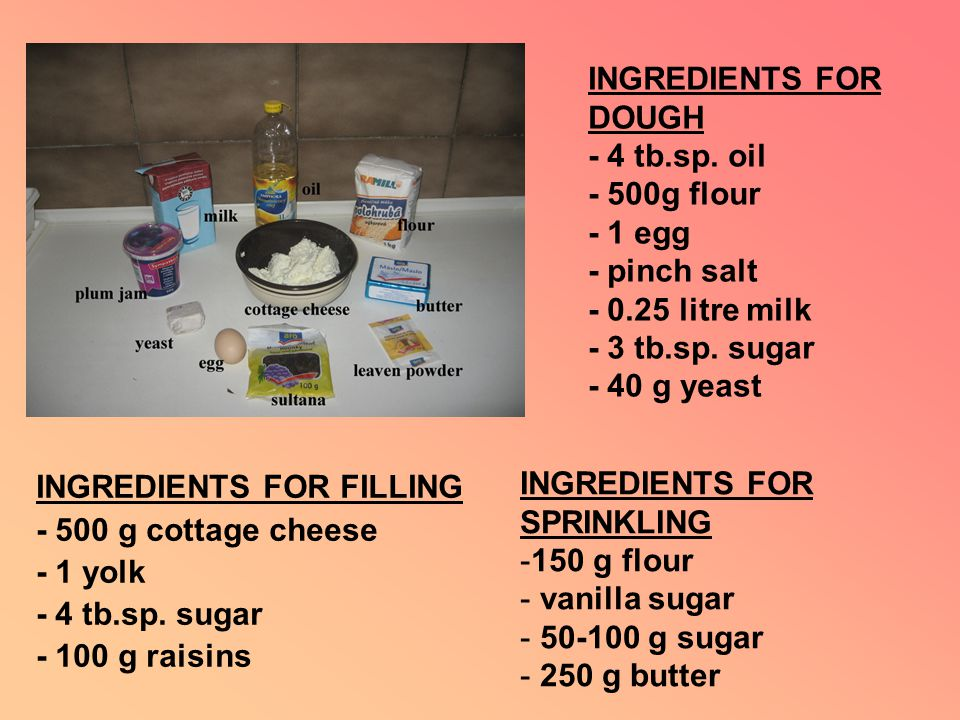INGREDIENTS FOR DOUGH - 4 tb.sp. oil - 500g flour - 1 egg - pinch salt - 0.25 litre milk - 3 tb.sp.