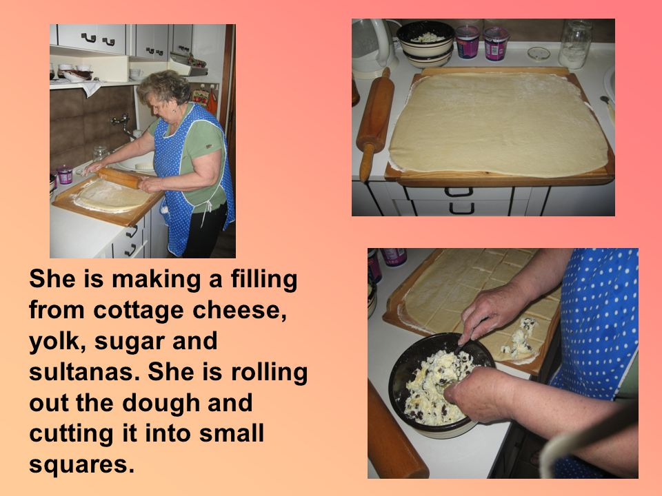 She is putting the filling on the dough squares of the dough and wrapping them up to make small balls.