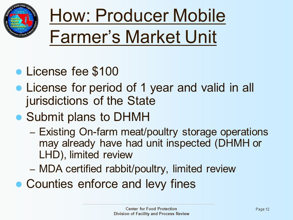 Center for Food Protection Division of Facility and Process Review Page 12 How: Producer Mobile Farmer's Market Unit License fee $100 License for peri