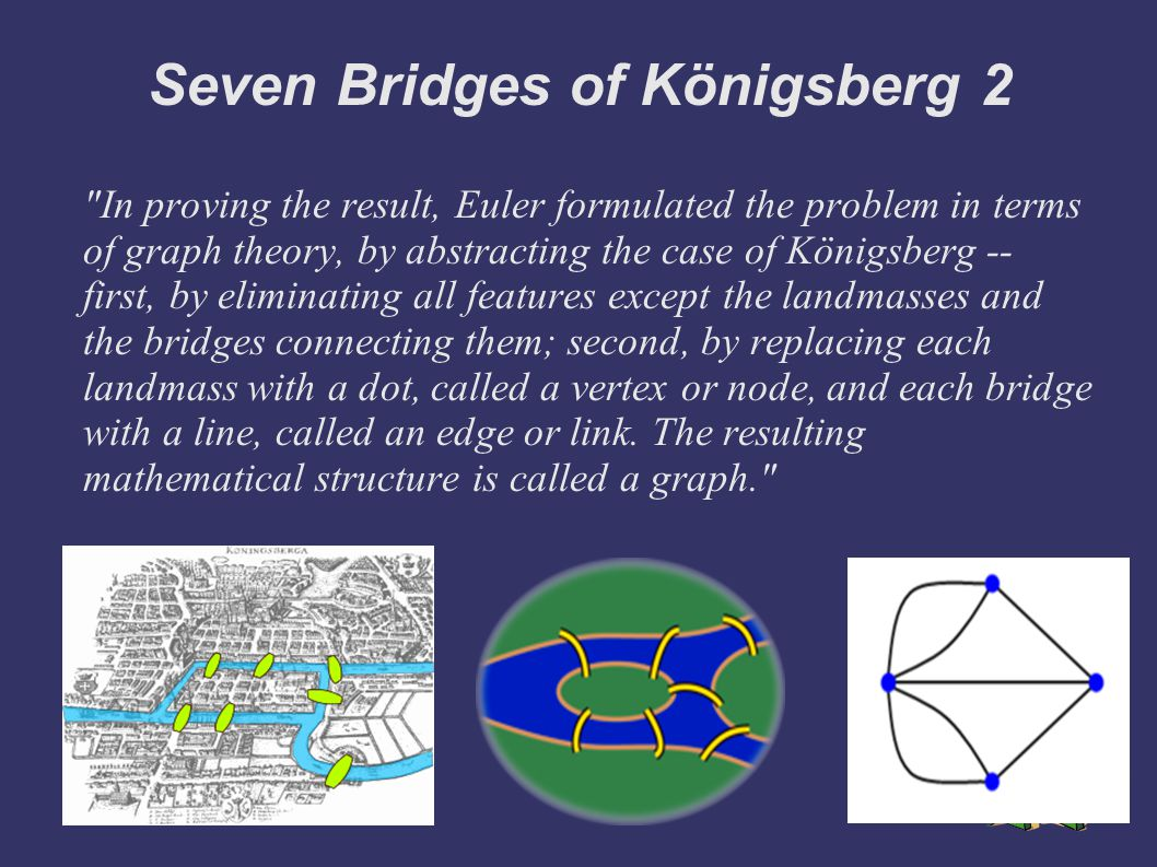 Seven Bridges of Königsberg 2 In proving the result, Euler formulated the problem in terms of graph theory, by abstracting the case of Königsberg -- first, by eliminating all features except the landmasses and the bridges connecting them; second, by replacing each landmass with a dot, called a vertex or node, and each bridge with a line, called an edge or link.