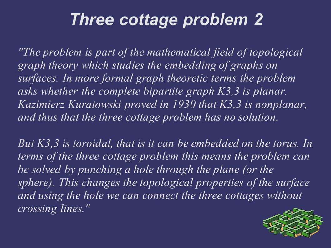 Three cottage problem 2 The problem is part of the mathematical field of topological graph theory which studies the embedding of graphs on surfaces.
