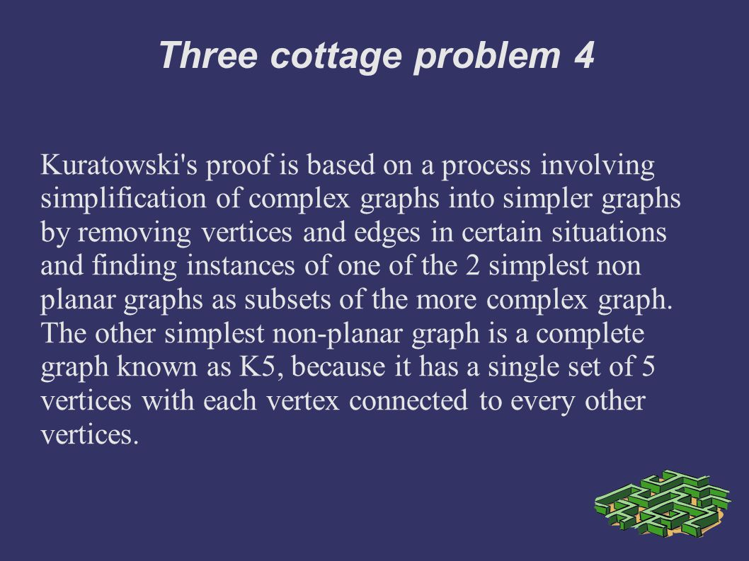 Three cottage problem 4 Kuratowski s proof is based on a process involving simplification of complex graphs into simpler graphs by removing vertices and edges in certain situations and finding instances of one of the 2 simplest non planar graphs as subsets of the more complex graph.