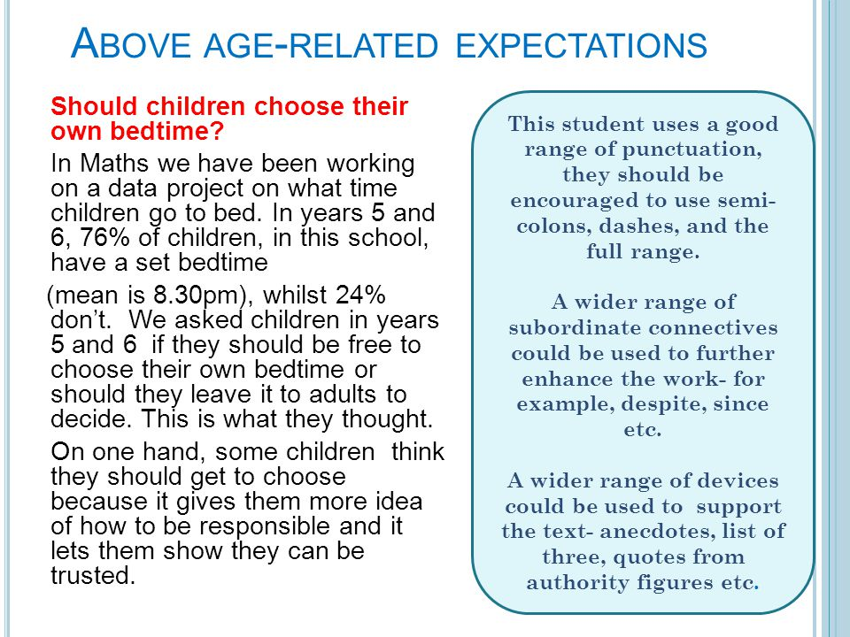 A BOVE AGE - RELATED EXPECTATIONS Should children choose their own bedtime.