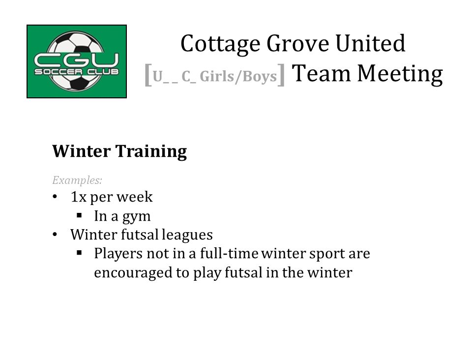 Winter Training Examples: 1x per week  In a gym Winter futsal leagues  Players not in a full-time winter sport are encouraged to play futsal in the