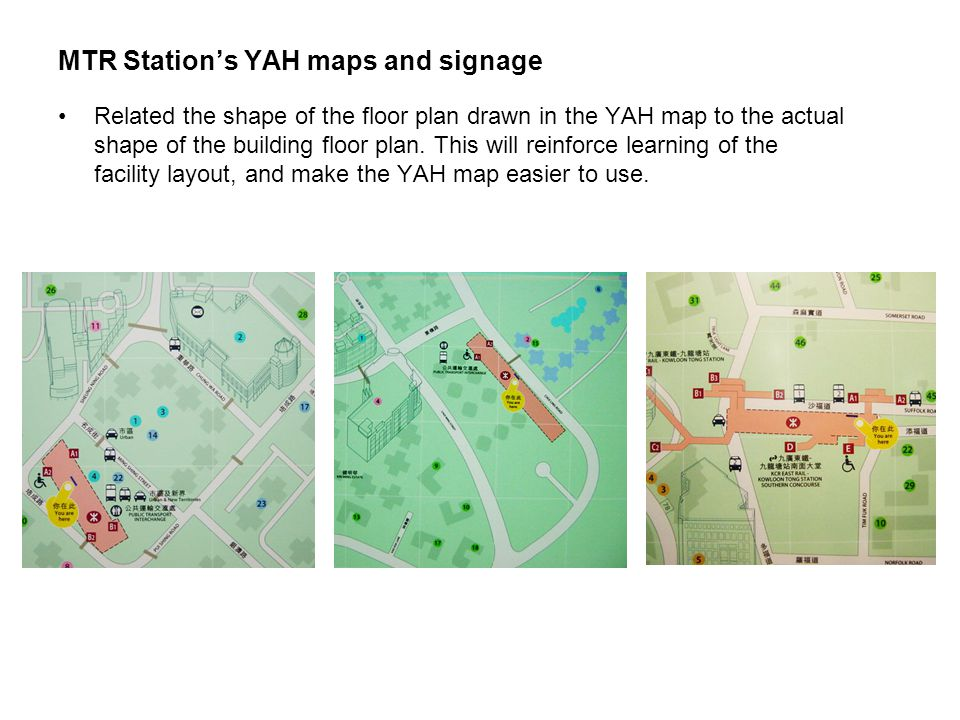 MTR Station's YAH maps and signage Related the shape of the floor plan drawn in the YAH map to the actual shape of the building floor plan.