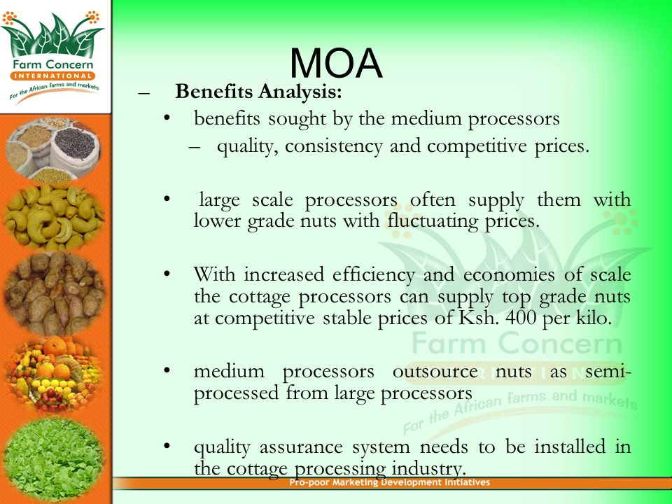 MOA –Benefits Analysis: benefits sought by the medium processors –quality, consistency and competitive prices.