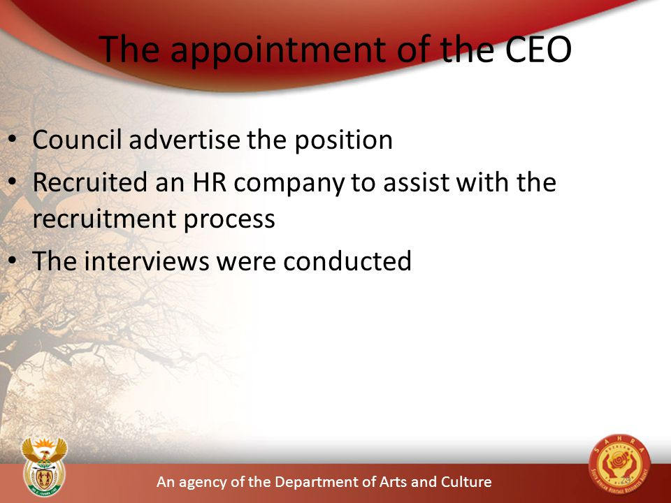 An agency of the Department of Arts and Culture The appointment of the CEO Council advertise the position Recruited an HR company to assist with the recruitment process The interviews were conducted 29