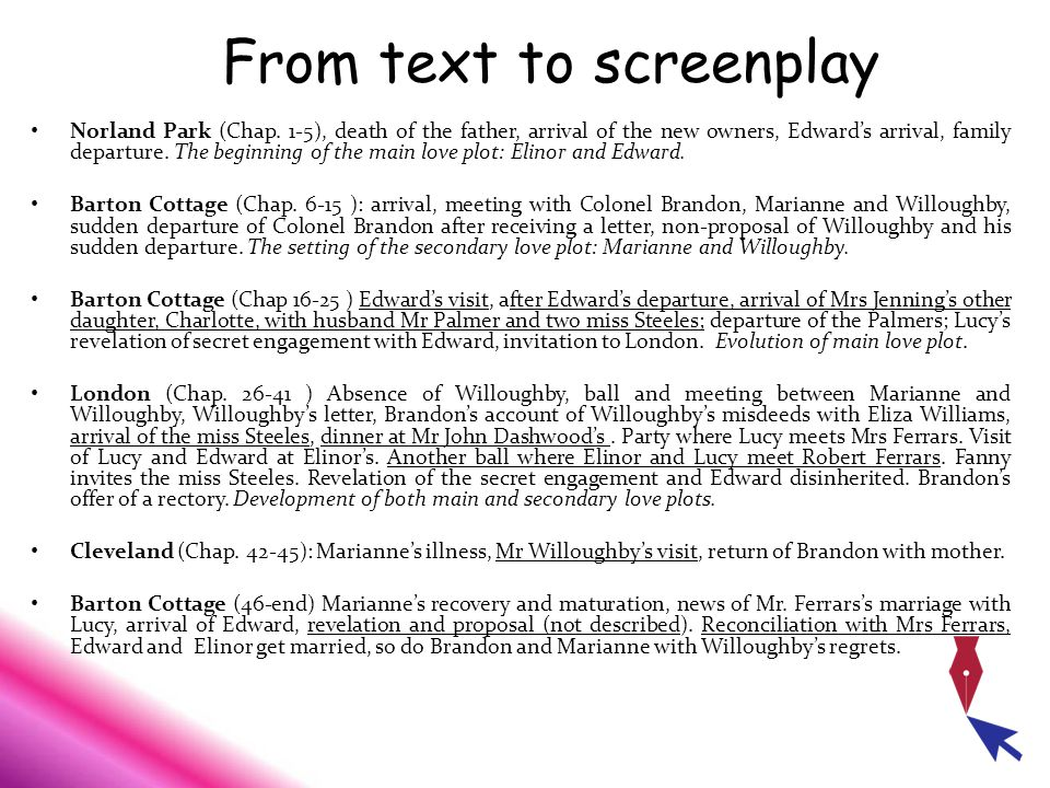 From text to screenplay Norland Park (Chap.