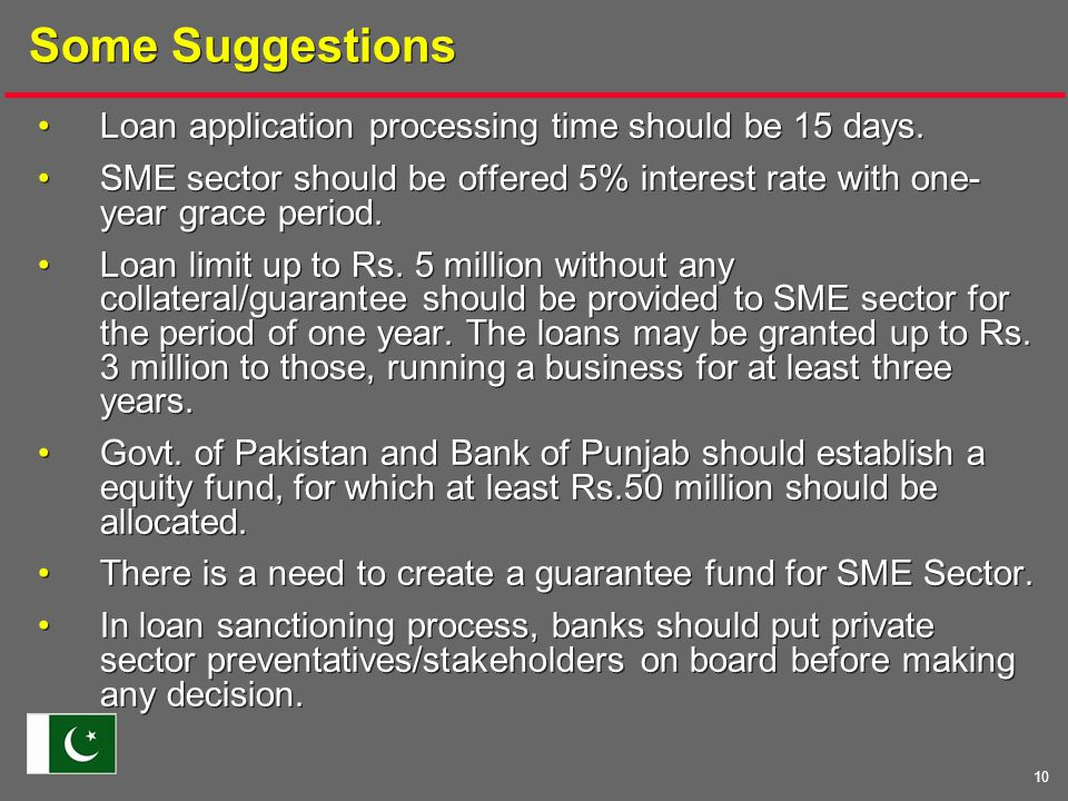 10 Some Suggestions Loan application processing time should be 15 days.