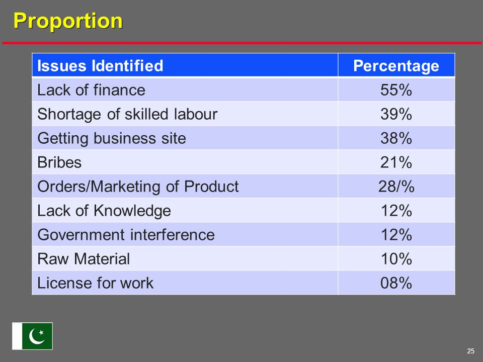 25 Proportion Issues IdentifiedPercentage Lack of finance55% Shortage of skilled labour39% Getting business site38% Bribes21% Orders/Marketing of Product28/% Lack of Knowledge12% Government interference12% Raw Material10% License for work08%