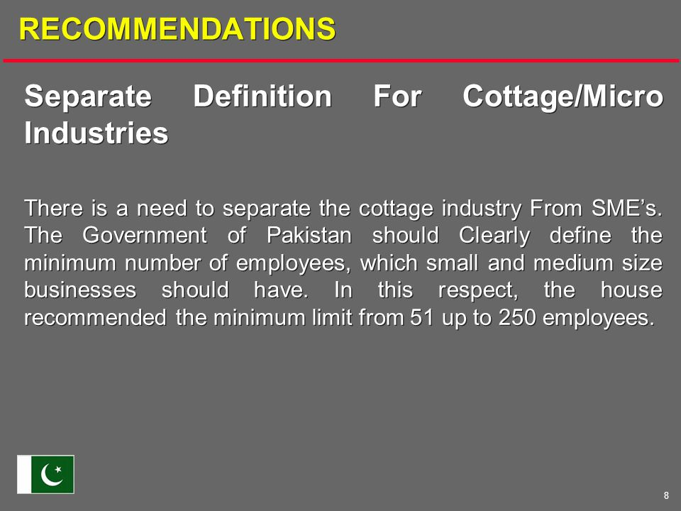 8 RECOMMENDATIONS Separate Definition For Cottage/Micro Industries There is a need to separate the cottage industry From SME's.