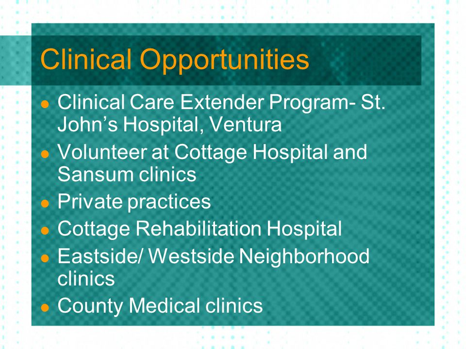 Clinical Opportunities Clinical Care Extender Program- St.