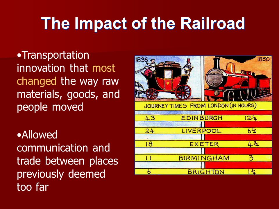 The Impact of the Railroad Transportation innovation that most changed the way raw materials, goods, and people moved Allowed communication and trade