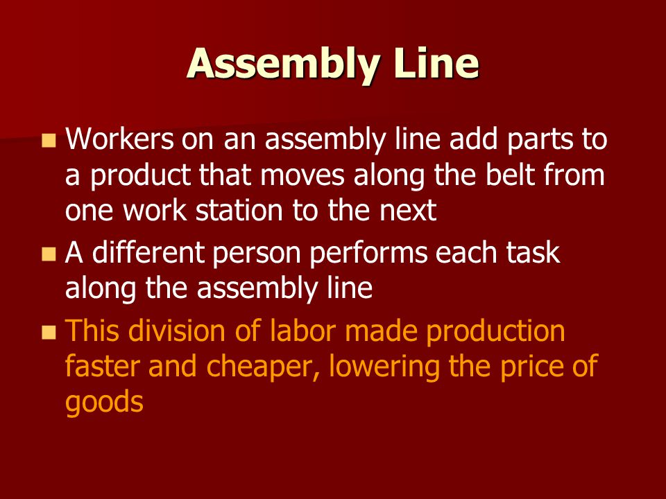 Assembly Line Workers on an assembly line add parts to a product that moves along the belt from one work station to the next A different person perfor