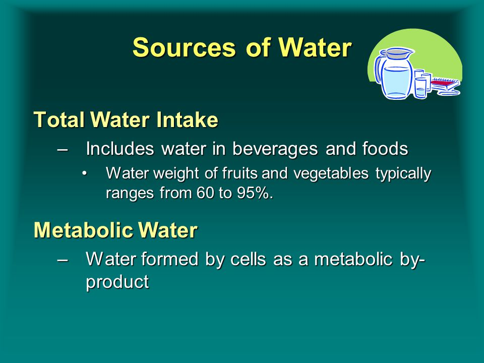 Sources of Water Total Water Intake –Includes water in beverages and foods Water weight of fruits and vegetables typically ranges from 60 to 95%.Water weight of fruits and vegetables typically ranges from 60 to 95%.