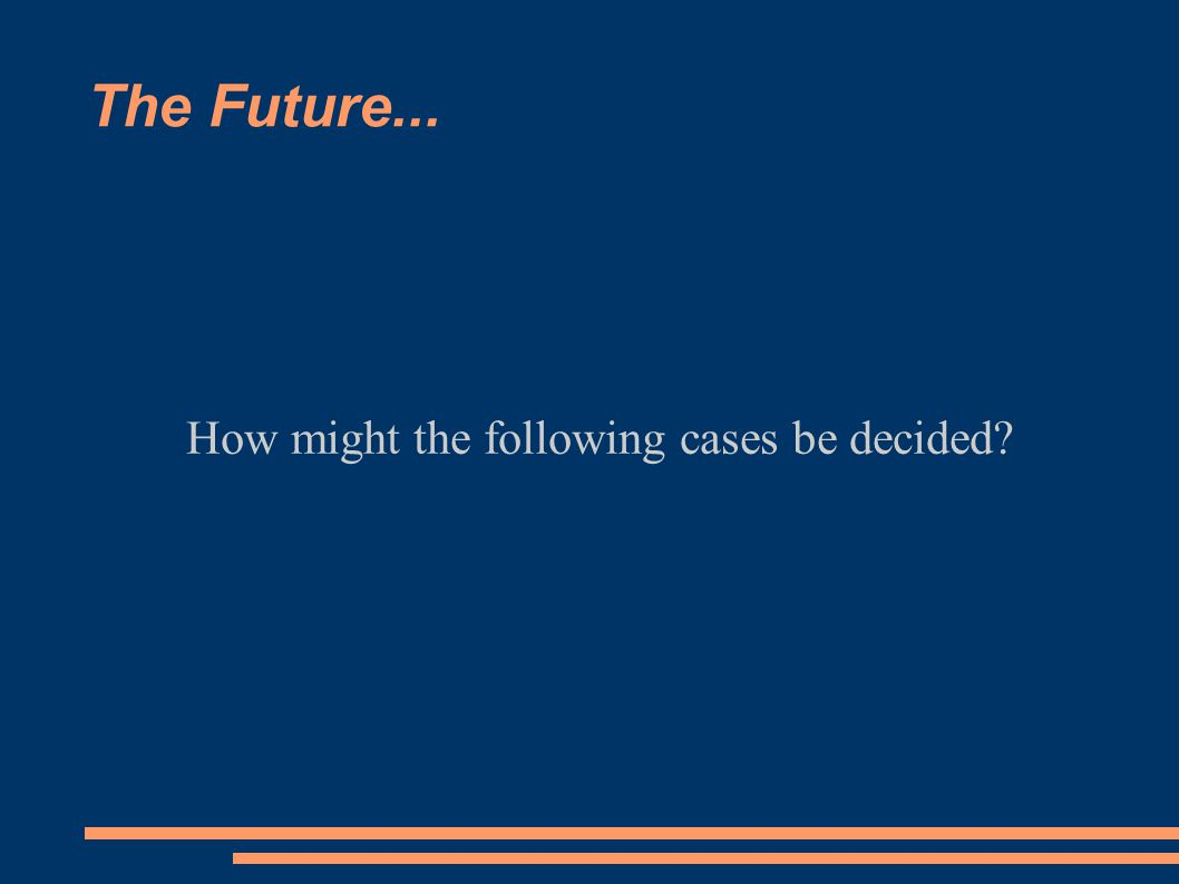 The Future... How might the following cases be decided