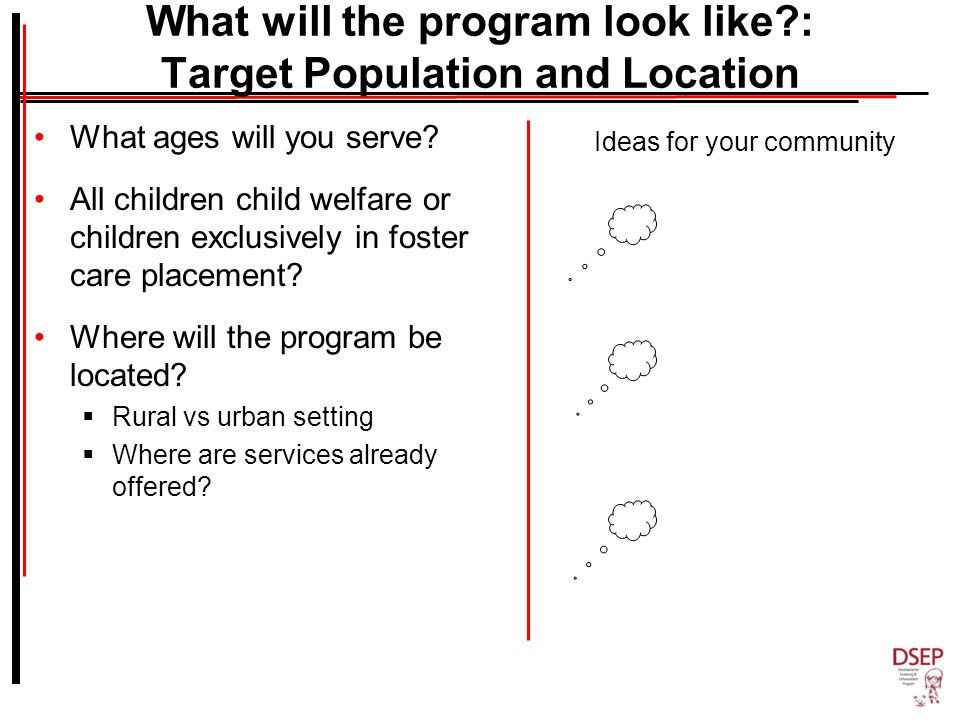 What will the program look like : Target Population and Location What ages will you serve.