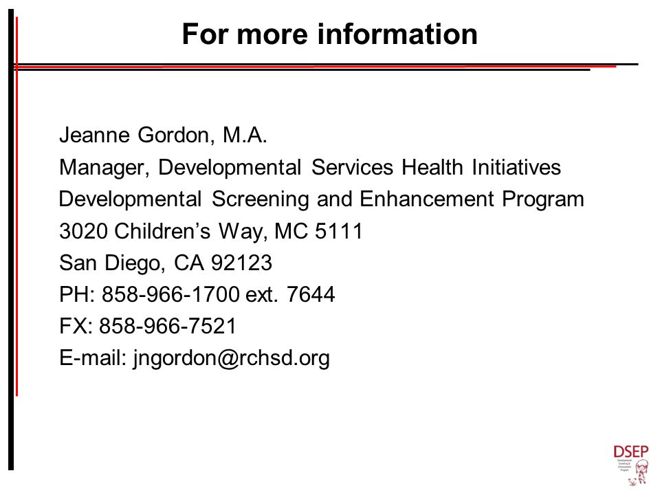 For more information Jeanne Gordon, M.A.