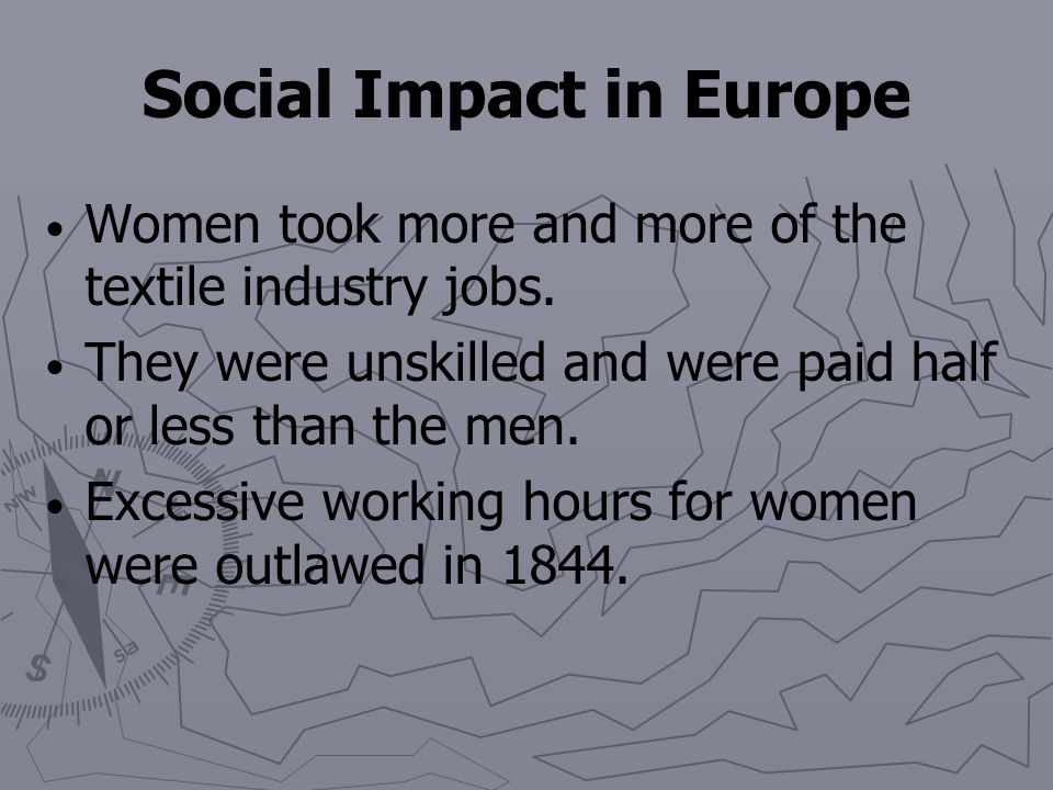 In Britain, women and children made up two-thirds of the cotton industry's workforce. The Factory Act of 1833 set 9 as the minimum age to work. Childr