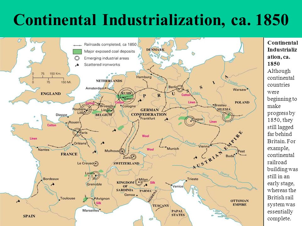 Continental Industrialization, ca. 1850 Although continental countries were beginning to make progress by 1850, they still lagged far behind Britain.