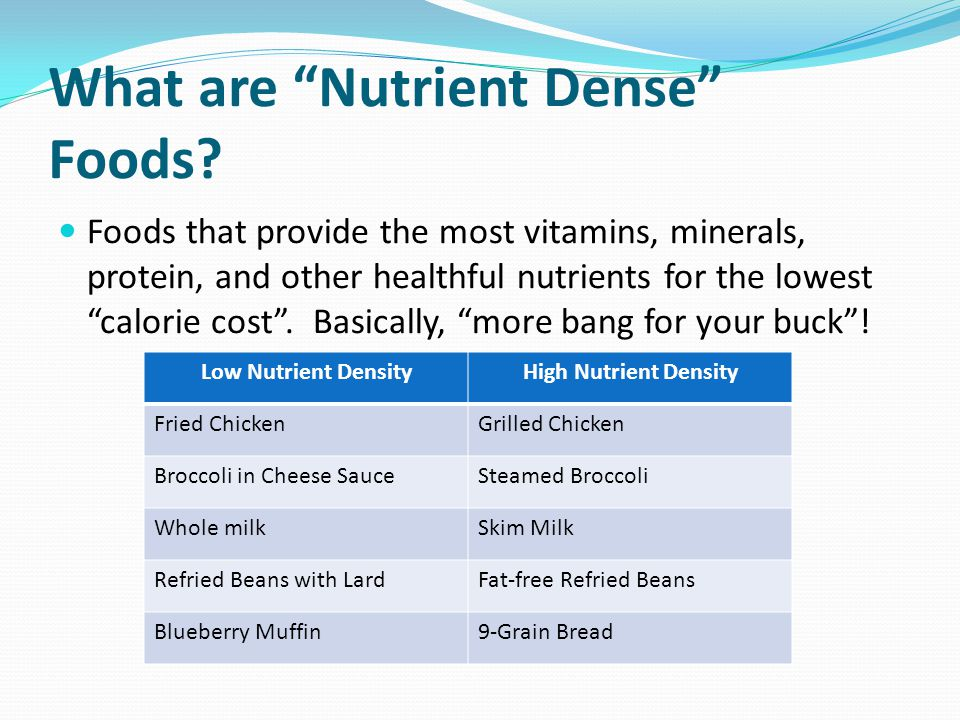 What are Nutrient Dense Foods.