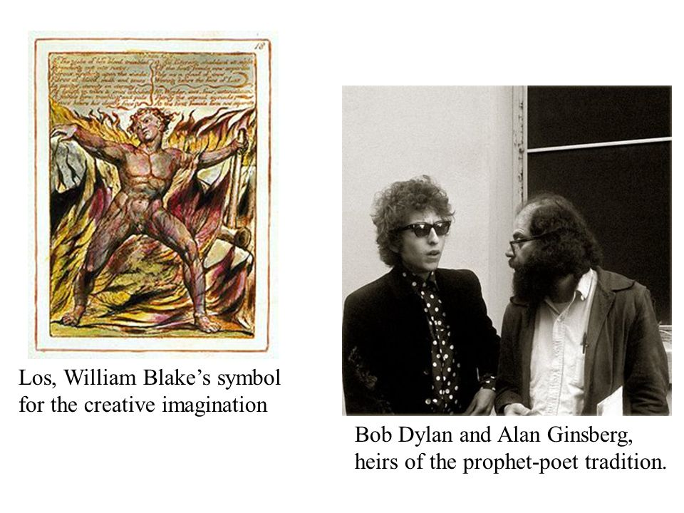 Los, William Blake's symbol for the creative imagination Bob Dylan and Alan Ginsberg, heirs of the prophet-poet tradition.