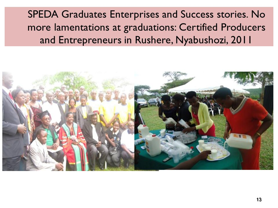 13 SPEDA Graduates Enterprises and Success stories.